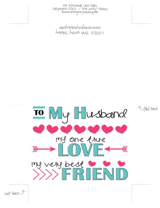 Free Printable - To My Husband: A Love Note Card | Valentine\'s Day ...