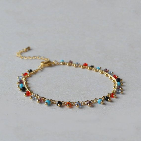 Multicolor mini stones bracelet fancy chain bracelet by AMEjewels