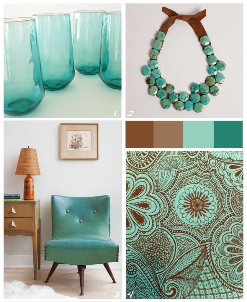 Turquoise color schemes color combo brownturquoise for Turquoise color scheme living room