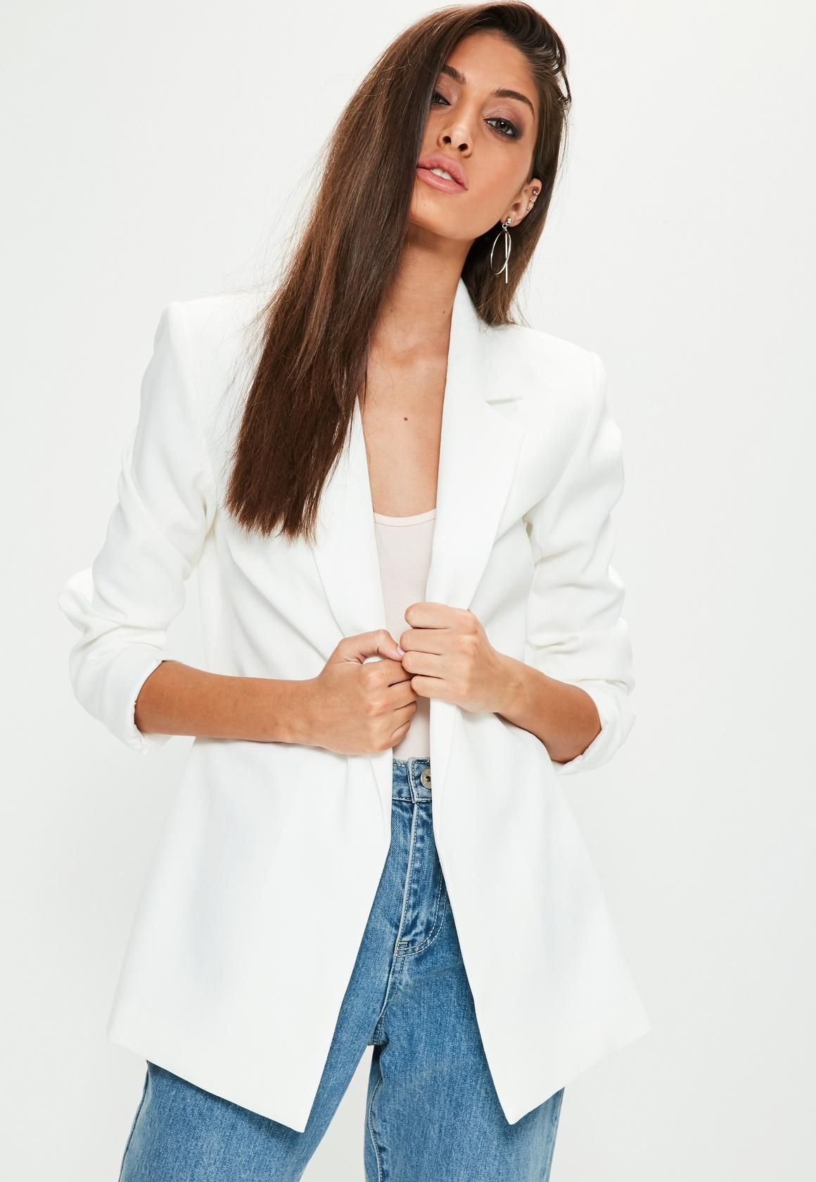 221492f876c0 Missguided - White Longline Blazer | clothes | Coats for women ...