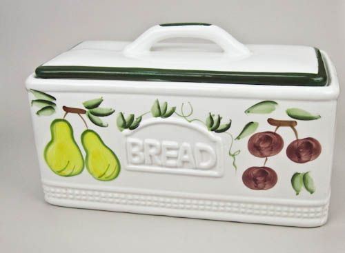 Hand Painted Ceramic Bread Keeper Bread Box Olliesfinethings
