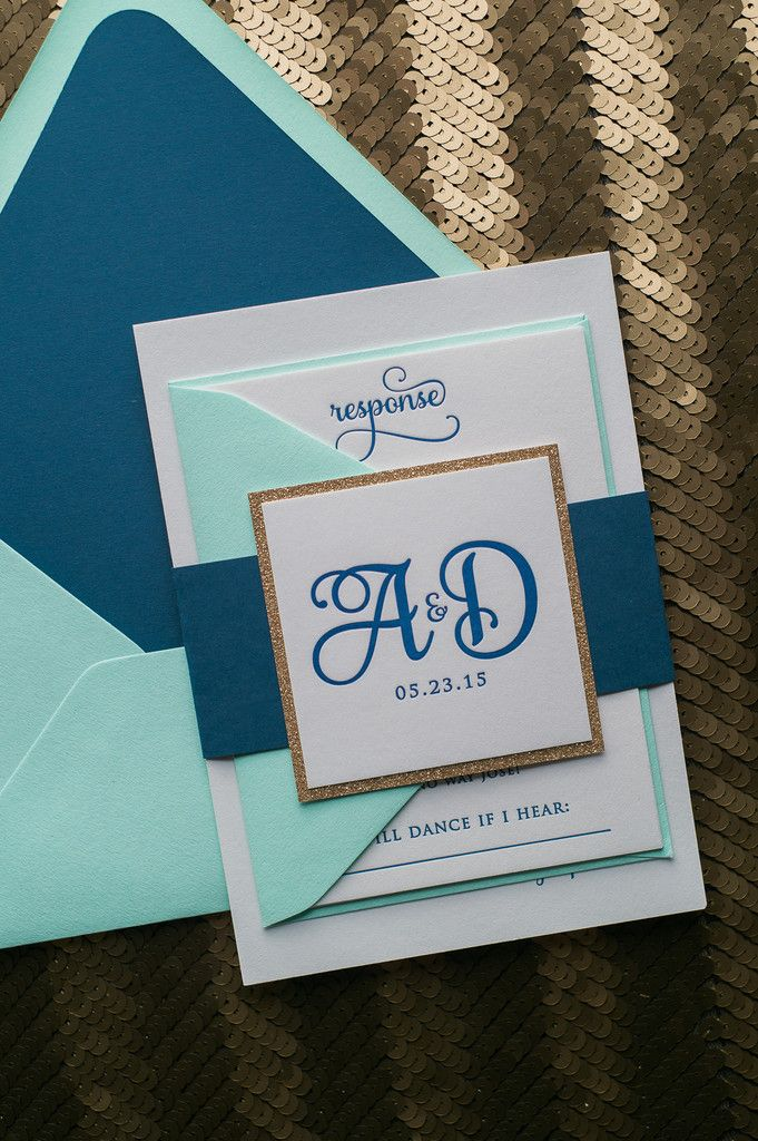 Fabulous Navy, Mint and Gold Glitter Modern and Whimsical