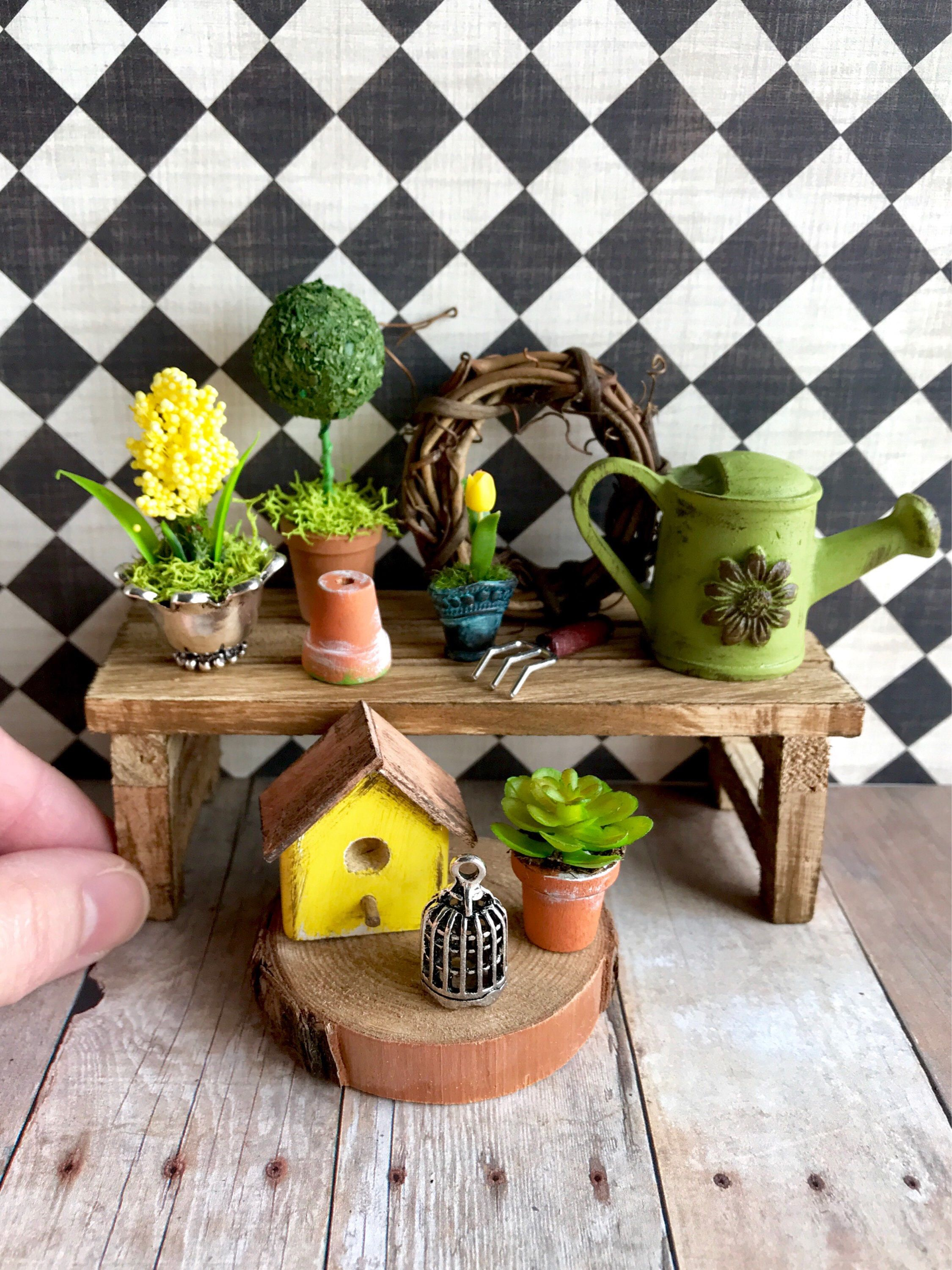 1 12 Scale Miniature Dollhouse Garden Miniature Topiary Plants And