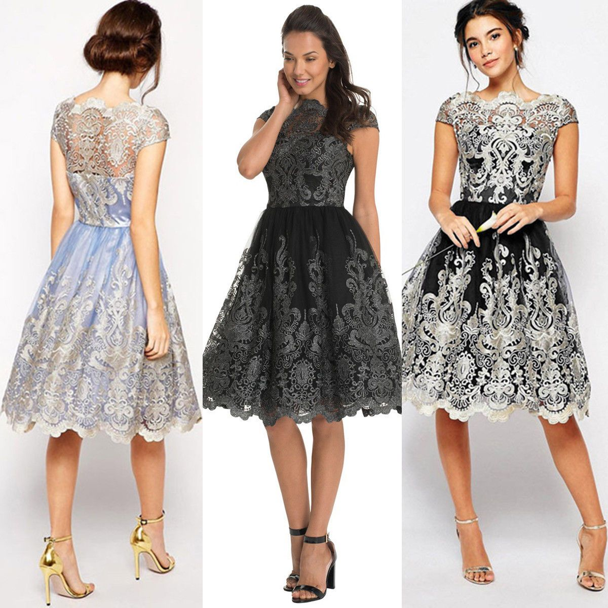 Women Long Lace Dress Prom Evening Party Cocktail Bridesmaid Wedding Gown Formal