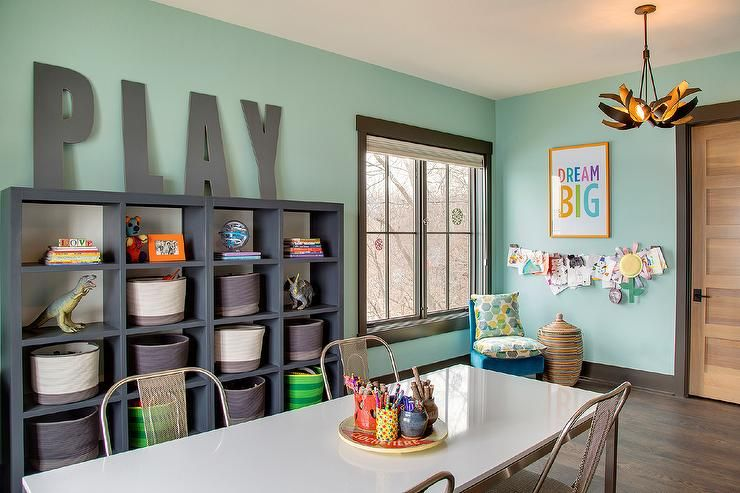 Contemporary Playroom Features Walls Painted Green Fitted With A Dark Gray Framed Window Next To Homework Room Home Decor Playroom Decor