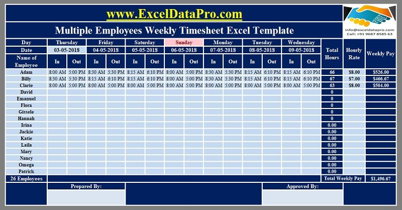 Download Multiple Employees Weekly Timesheet Excel Template Exceldatapro Excel Templates Excel Spreadsheets Templates Payroll Template