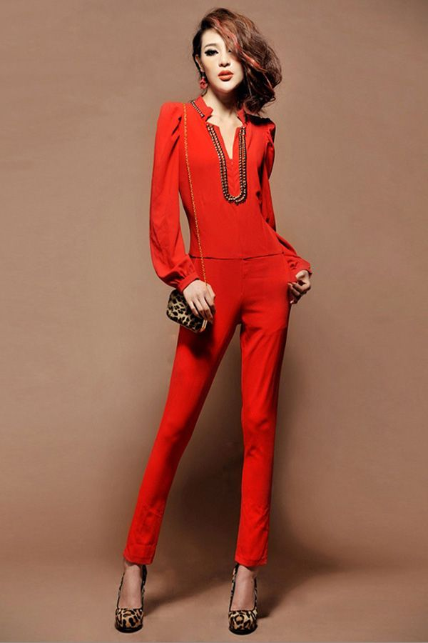 All Red Jumpsuit | Fashion Ql