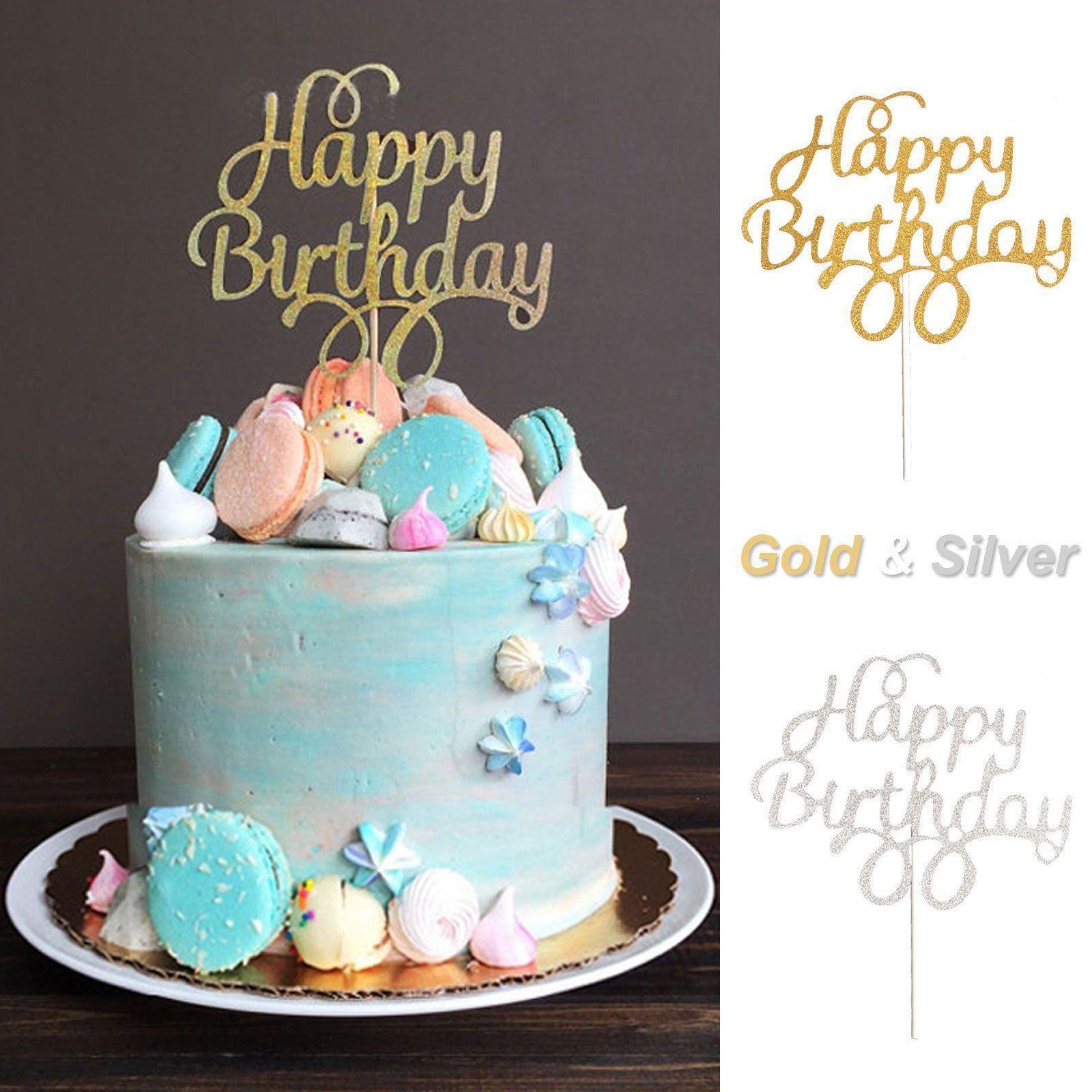 Happy Birthday Cake Topper Black Gold Silver Glitter Party Decorating Diy Eb
