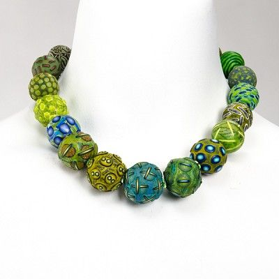 "Ford & Forlano at Patina Gallery. Necklace, ""Big Bead"", Greens, Sterling Silver and Polymer Clay  $2,225.00"