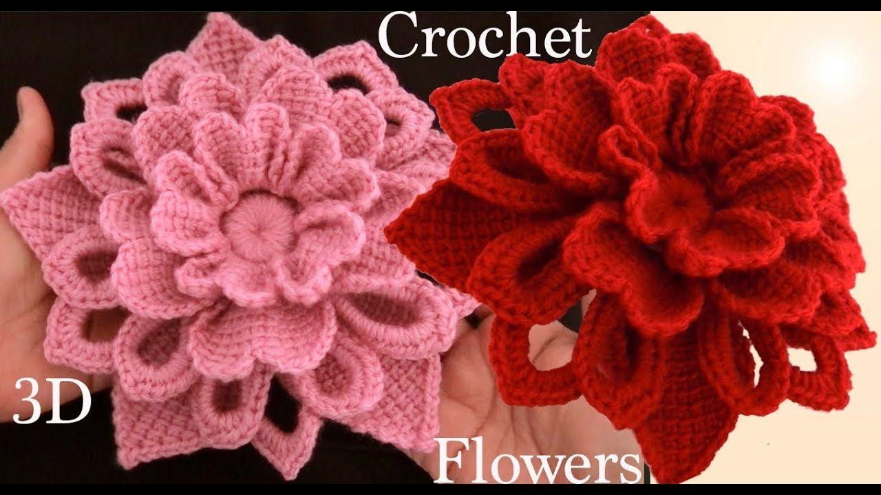 Como hacer flores en 3D a Crochet Irlandés tejidas en punto tunecino ...
