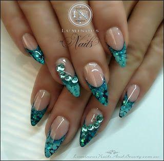 Aqua Blue Snake Skin effect Nails...