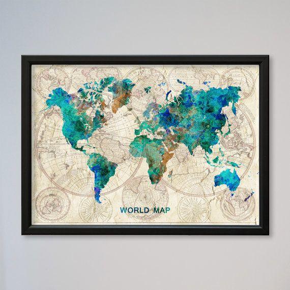 Monde Carte Aquarelle Affiche Confucius Citation Vieux Monde Carte
