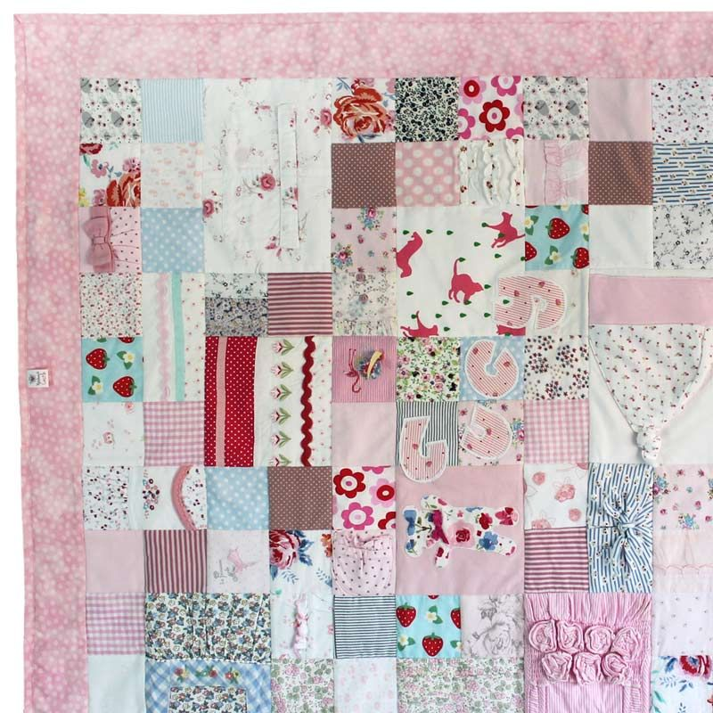 Baby clothes keepsake memory quilt all squared up