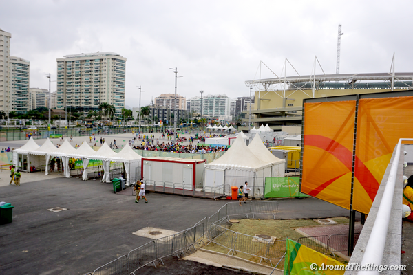 Entry to Rio Olympic Arena and, in the background, Maria Lenk Aquatic Center on Aug. 7 (ATR)
