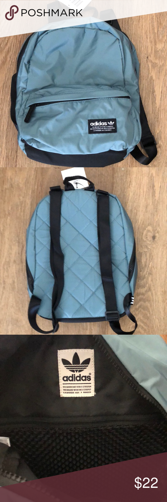 04f4ea5fccb adidas Originals National compact backpack Style  CJ6392 compact backpack  in Raw green. Has interior pocket for storage as well as one on front of bag .