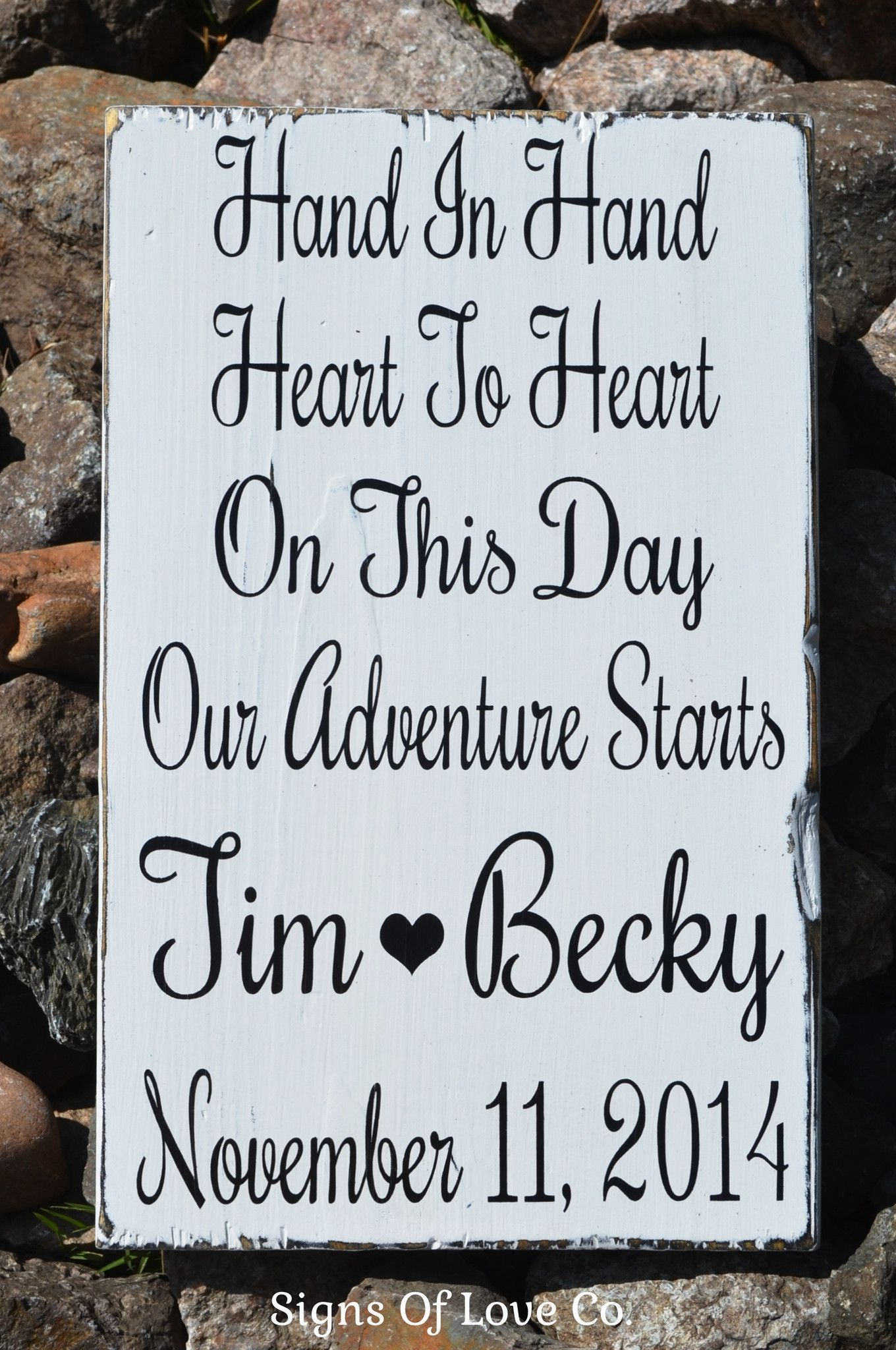 Hand In Hand Heart To Heart Personalized Rustic Wedding Sign Decor
