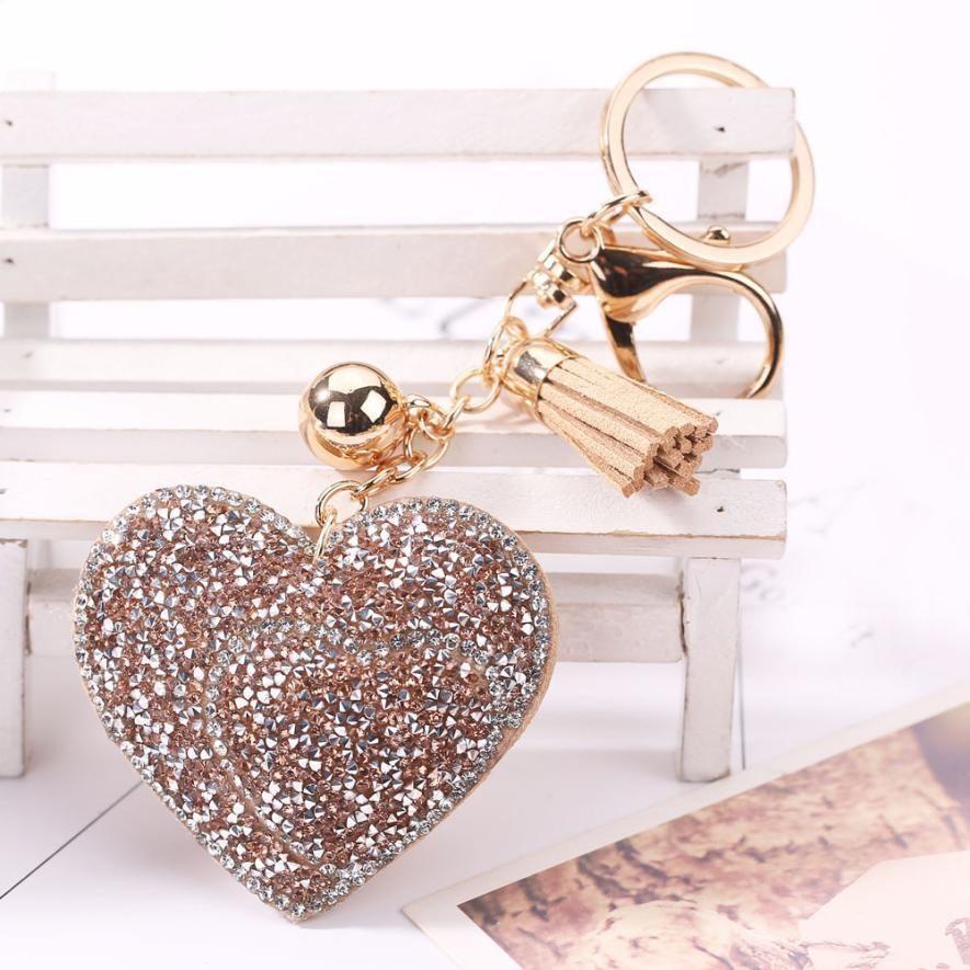 3813d3cf3242 Love Rhinestone Tassel Keychain Bag Handbag Key Ring Car Key Pendant. Brand  Name  susenstoneMetal color  Antique Gold PlatedGender  WomenStyle  ...