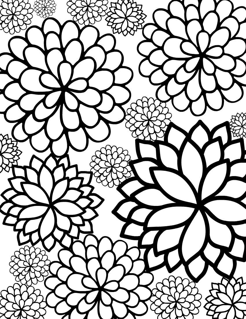 Colouring in sheets of flowers - Free Printable Bursting Blossoms Flower Coloring Page