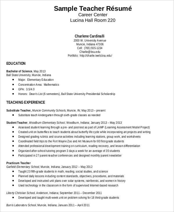 teacher resume sample free word pdf documents download pics photos - substitute teacher on resume