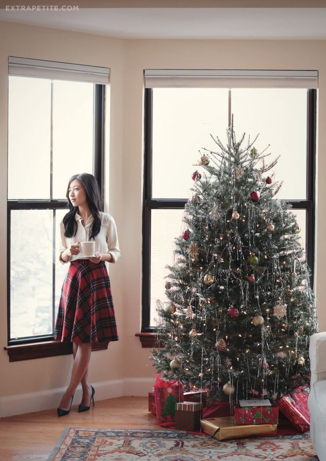 Plaid circle skirt and pine pumps - Extra Petite