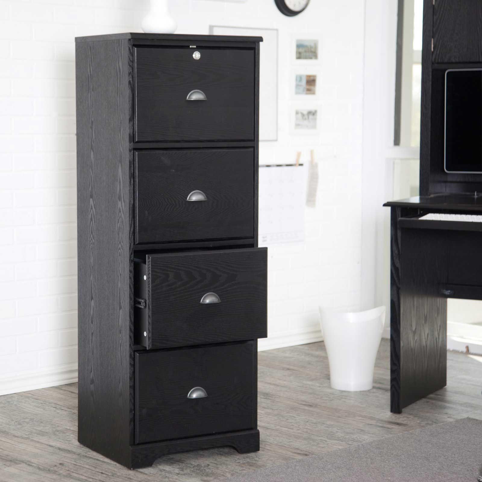 Marvelous Black Wooden File Cabinets 4 Drawer
