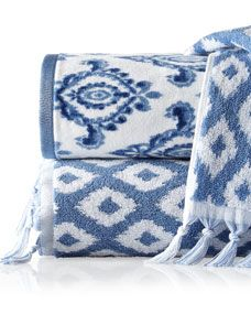 Dena Home Madison Navy Patterned Towels Blue Towels White