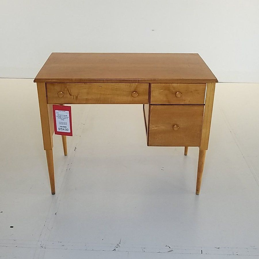 Small Vintage 3 Drawer Wood Desk Chair Divine Consign
