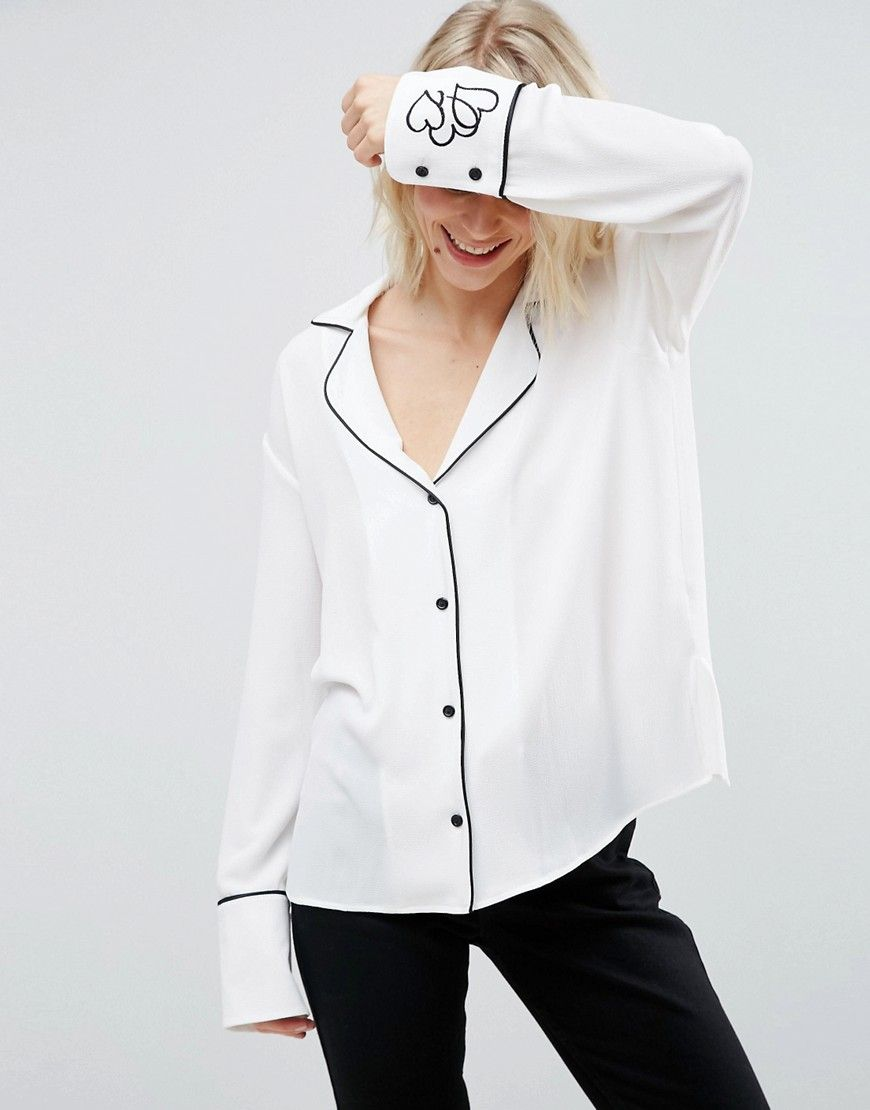 On Trend Pajama Style Blouse With Embroidered Heart Cuffs For Work