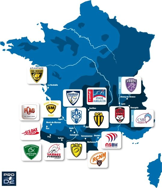 France map of rugby PRO D2 teams Rugby PROD2 Rugby Pinterest