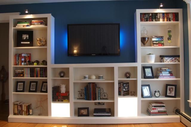 23 Ingenious Ikea Billy Bookcase Hacks Media Center Hack