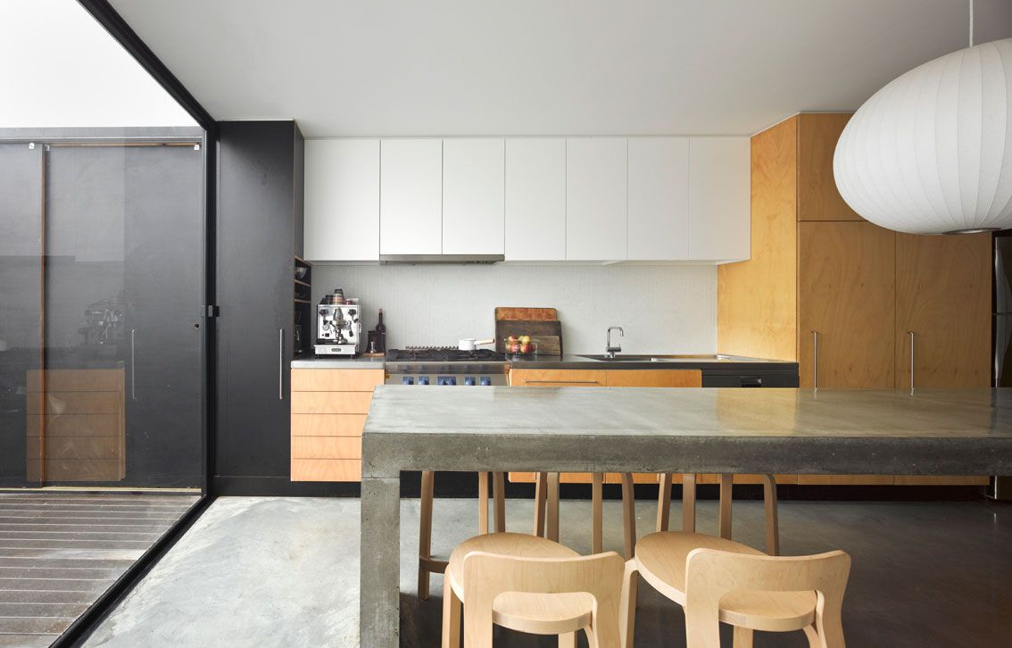 Kitchen with no window  mixed affordable kitchen fittings  without window and concrete
