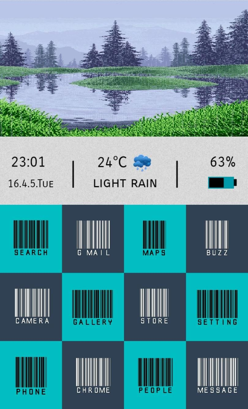 [Homepack Buzz] Check out this awesome homescreen! abdul nayum rainy nature tiles HP, tile barcode icon widgets made with uccw, nature .gif  icon