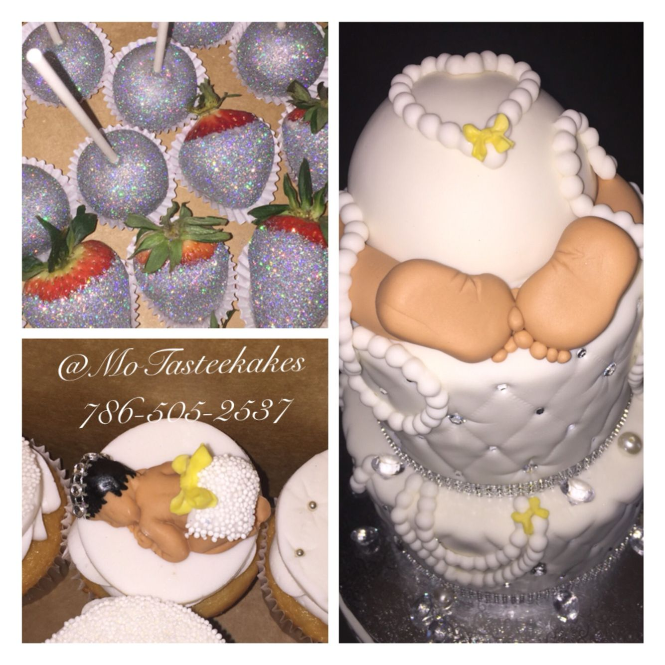 Diamond and Pearls themed Baby Shower Cake