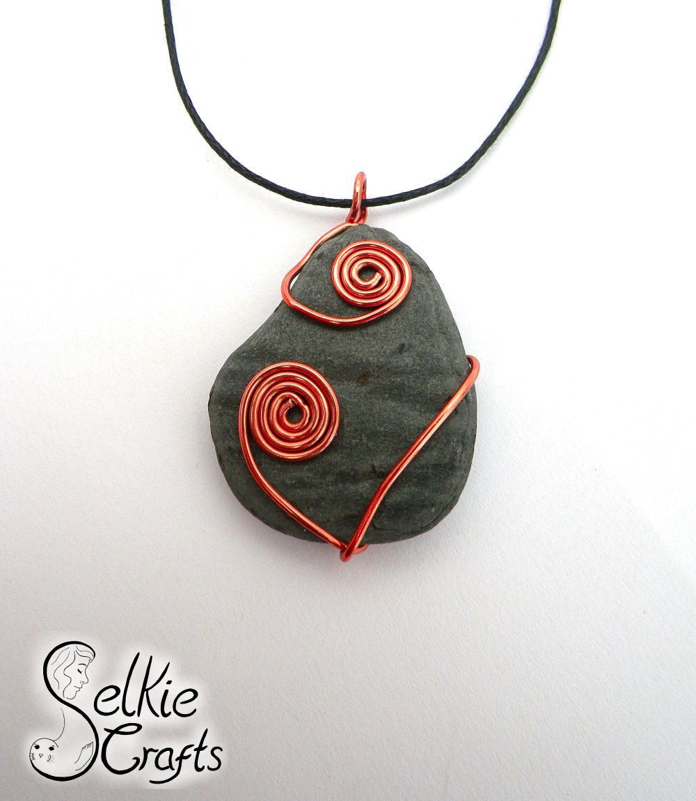 Wire wrapped stone necklace. Scottish Easdale Slate jewellery ...