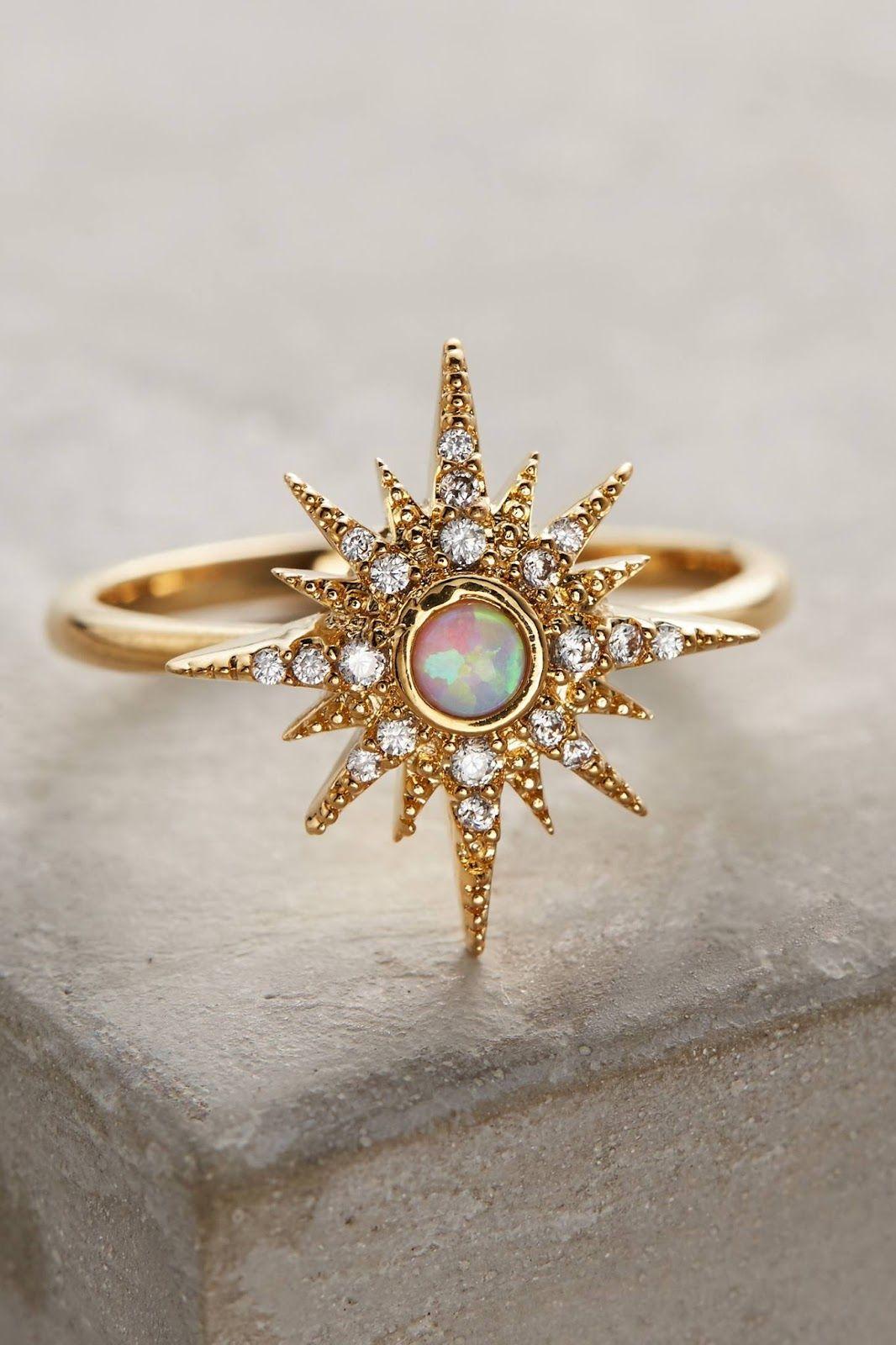 a183003f83a186 18K Yellow Gold Plated White Opal Ring Fashion Women Wedding Bridal Jewelry  6-10 Fine