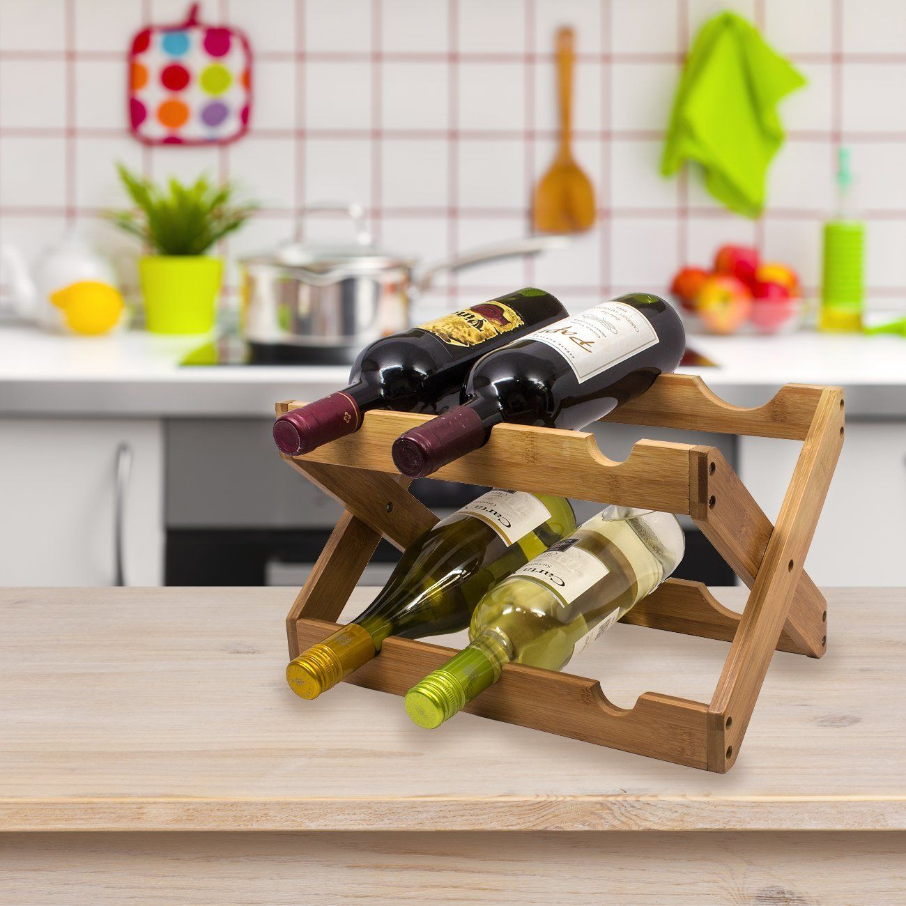 Sorbus Bamboo Foldable Countertop Wine Rack 6 Bottles Bamboo