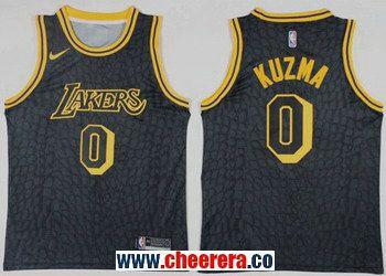 17db6b4716d Men s Nike Los Angeles Lakers  0 Kyle Kuzma Black NBA Swingman City Edition  Jersey