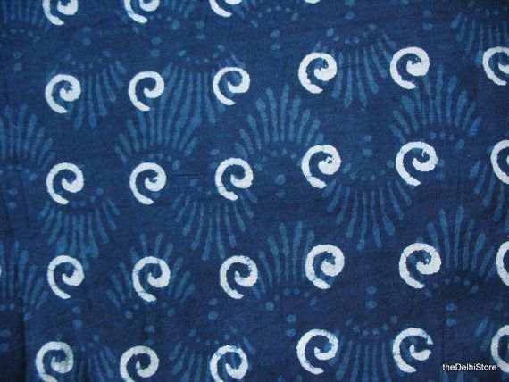 Thick Indian Cotton Fabric - Vegetable Indigo Dye Fabric - Block Print / Stamped Fabric Yardage