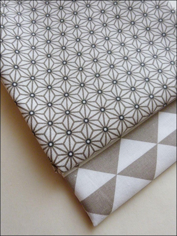 Tissu Ameublement Scandinave #11: Lot De 2 Coupons Fat Quarter , Tissu Coton Imprimé Japonais, Triangles,  Tendance Scandinave
