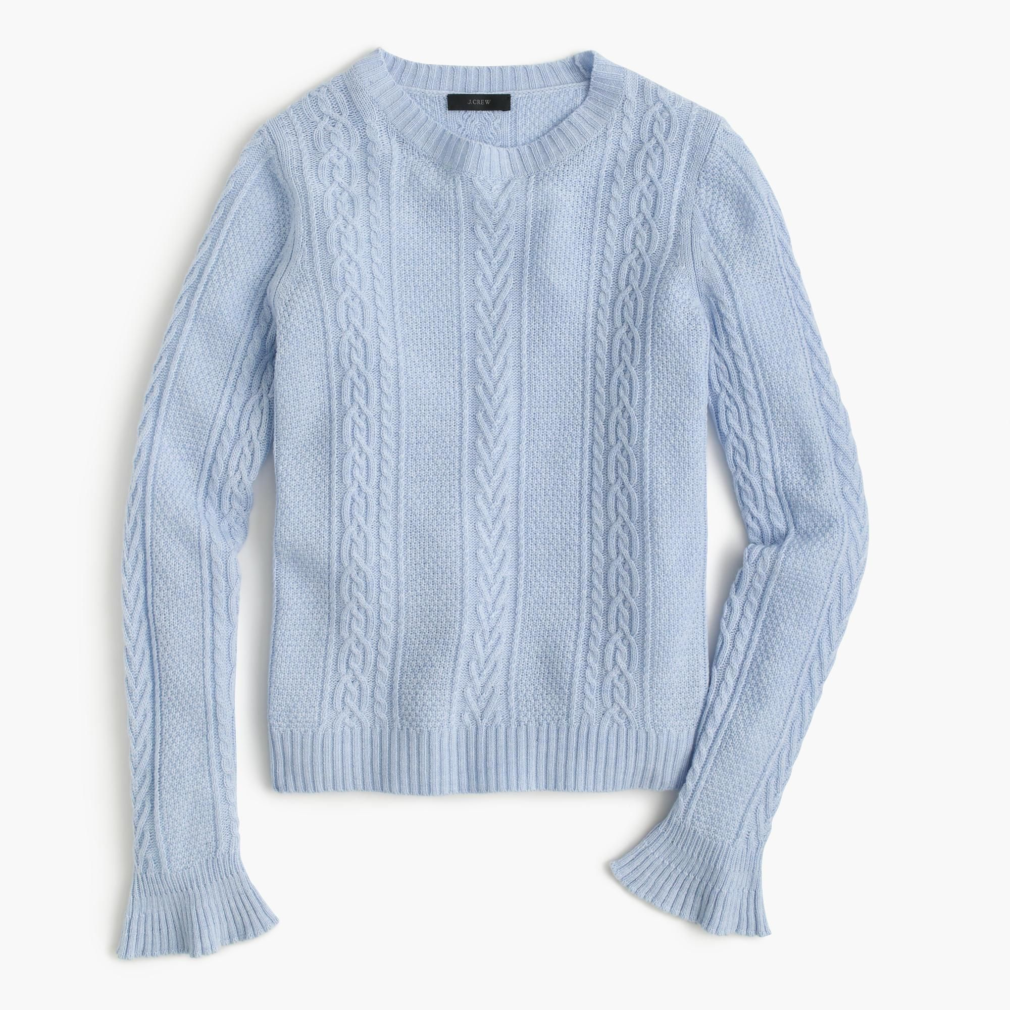 2f0dbc584c Women s Blue Cable Crewneck Sweater With Ruffle Sleeves