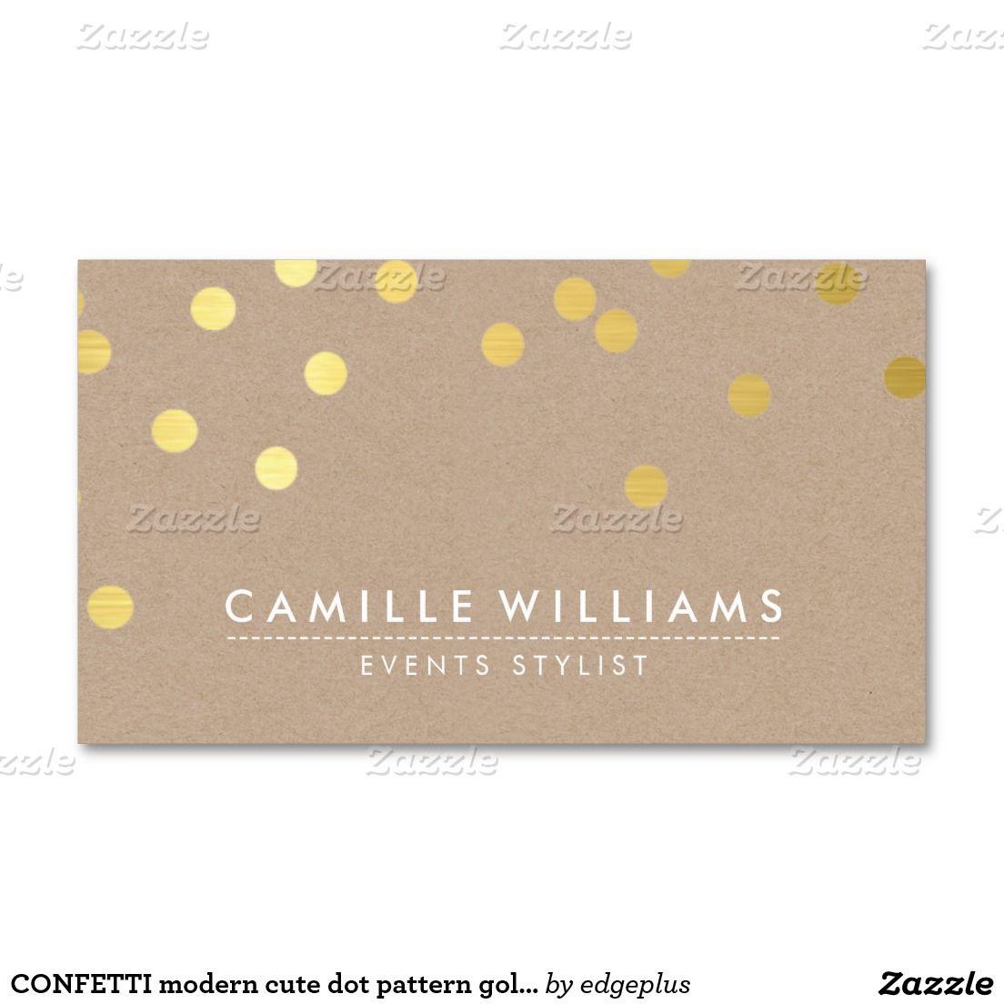 Punktmuster Goldfolie Kraftpapier Des Confetti Visitenkarte