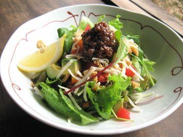 Japanese style Tacos Salad. NIKU-MISO (Meat and MISO) on salad.