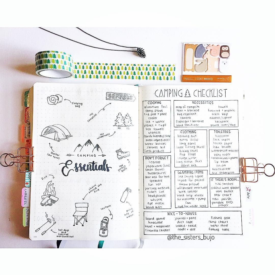 bullet journal idea camping checklist essentials (With