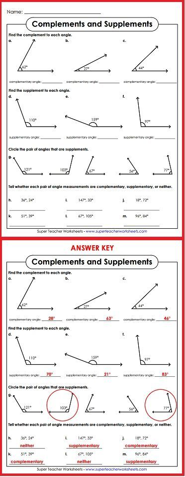 Teach Your Students About Complementary And Supplementary Angles Super Teacher Worksheets Supplementary Angles Learning Math