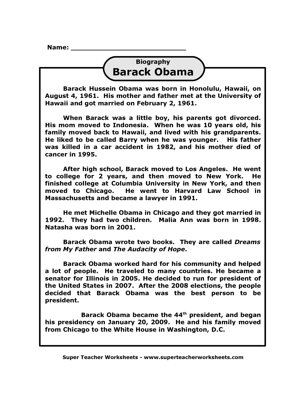Barack Obama Biography Printable On Super Teacher Worksheets