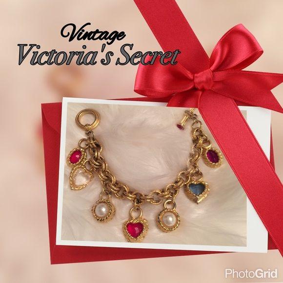 ❤️Vintage Victoria Secret Bracelet❤ Beautiful Victoria Secret Charm Bracelet  with jeweled heart shaped charms. Victoria\u0027s Secret Jewelry Bracelets
