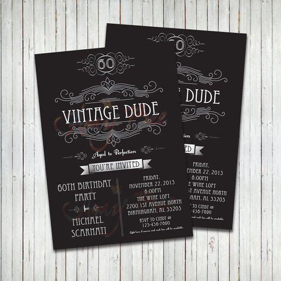 Vintage Dude Invitation Man Birthday Printable Vintage Birthday Invitations Birthday Printables Man Birthday