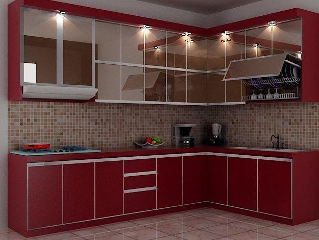 Model Kitchen Set L Mini Untuk Dapur Mungil 7 Warna Merah Lantai