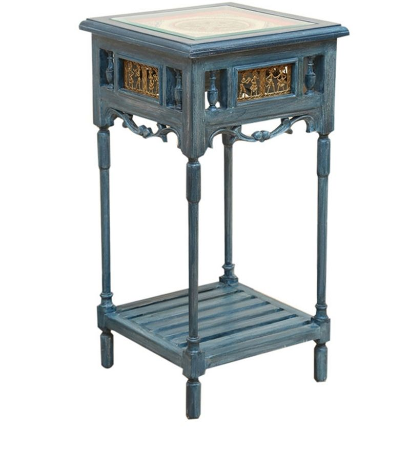 Buy Adiro Teak Wood End Table in Rustic Blue Finish by ExclusiveLane Online - Indian Ethnic - End Tables - Pepperfry