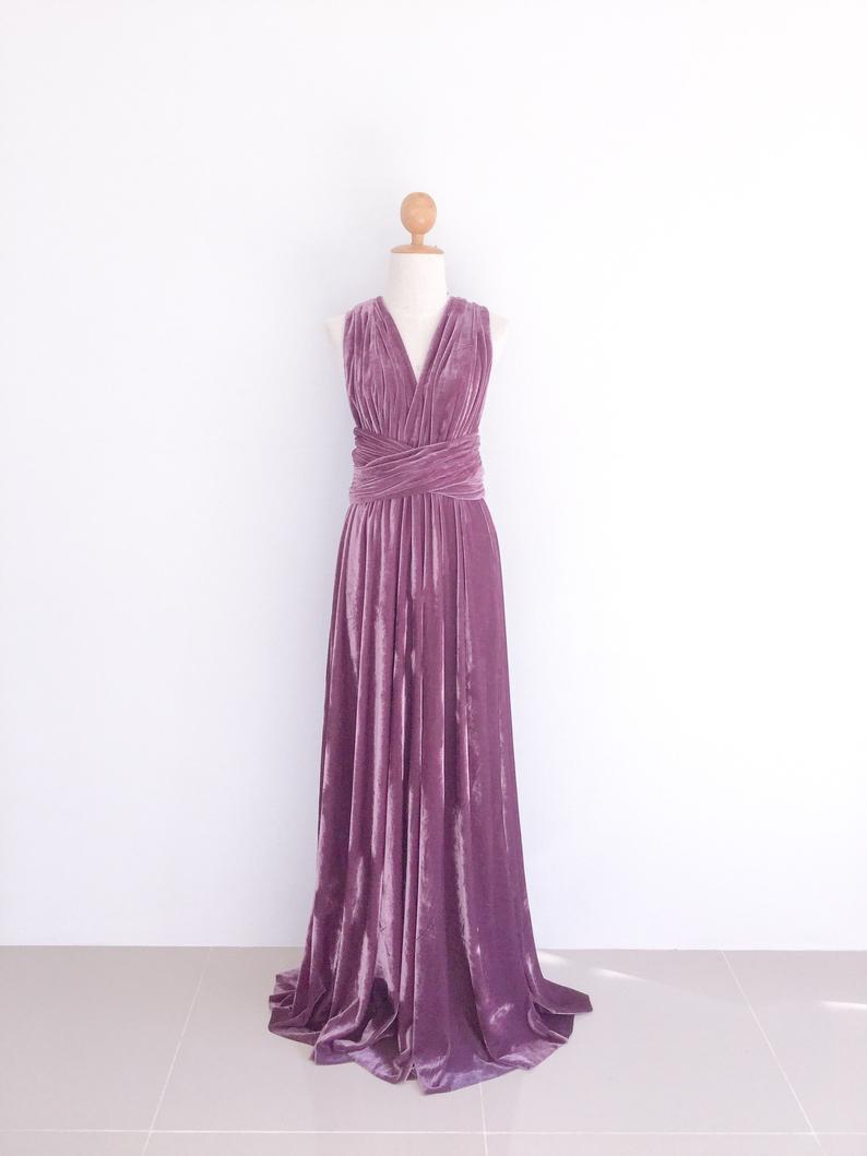 Velvet Dress Mauve Purple Infinity Velvet Dress Bridesmaid Etsy Tea Length Bridesmaid Dresses Short Lace Wedding Dress Purple Prom Dress [ 1059 x 794 Pixel ]